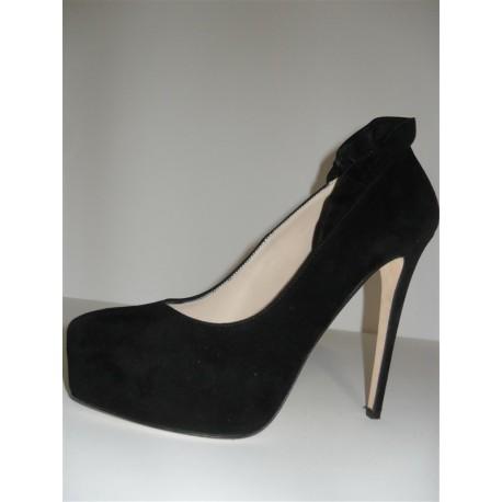 separation shoes 57529 bb9e5 SCARPE DECOLLETE' LE SILLA PLISSE' VELOUR NERO TACCO ALTO PLATEAU DONNA  SHOES WOMAN