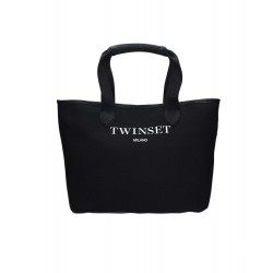 TWIN SET SHOPPING BAG IN TESSUTO COL NERO