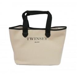 TWIN SET SHOPPING BAG IN TESSUTO COL BIANCO SABBIA