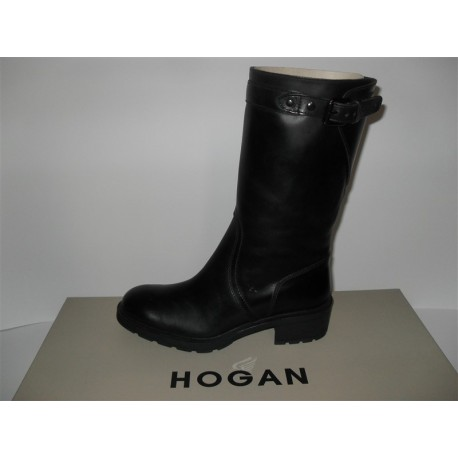 STIVALI HOGAN TRONCHETTO CON FIBBIA IN PELLE NERO SHOES