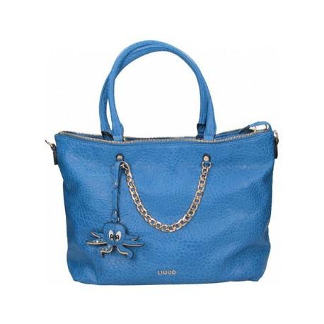 BORSA LIU JO SHOPPING BAG TRACOLLA MAXI POPPA BLU A16152 - Outletdress 5e8252d2470