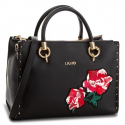 BORSA SHOPPING BAG LIU JO A MANO E TRACOLLA SATCHEL ZIP DARSENA EMBROIDE IN ECOPELLE NERO