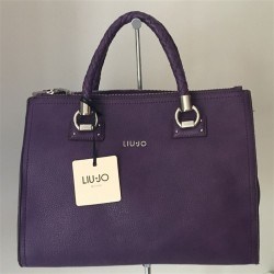BORSA SHOPPING BAG LIU JO A MANO E TRACOLLA SATCHEL ZIP MANHATTAN IN ECOPELLE VIOLETTE