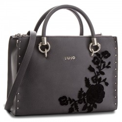 BORSA SHOPPING BAG LIU JO A MANO E TRACOLLA SATCHEL ZIP DARSENA CINIGLIA IN ECOPELLE GRAPE JUICE